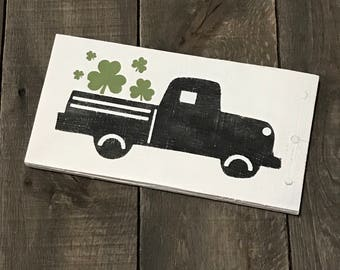 Shamrock truck, Vintage Truck Decor, spring signs, St Patrick's Day Decor, Easter sign, spring decor, Spring on reclaimed wood,