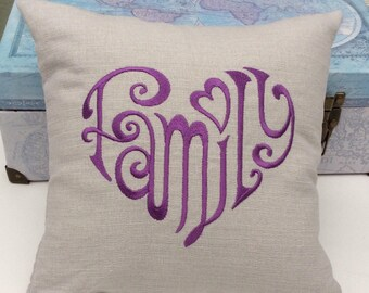 Embroidered Family decorative   Pillow.