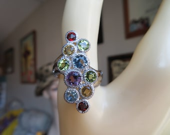 Genuine Amethyst, Garnet, Topaz, Citrine & Peridot Sterling Silver 925 Filigree Ring Size 8.5, Wt. 5.3 Grams