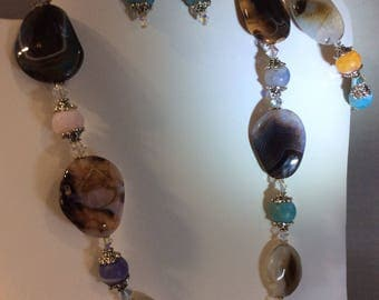 Agate Necklace, Bracelet and Earring Set
