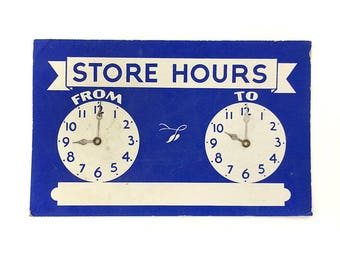 Vintage Blue Store Hours Clock Sign