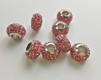 20  pcs  Large Hole pink   Rhinestone  Beads ,Rhinestone Beads  for European bracelet