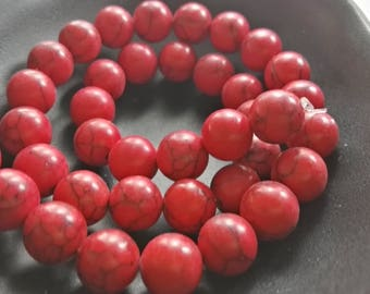 8mm 10mm Red Howlite Beads , Red Turquoise Beads , Gemstone Beads ,DIY Beads , Make your own Jewelry, Gift