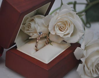 Braided Ring in 14kt Rose  Gold, Yellow Gold, or White Gold with BLue Topaz and Engraving