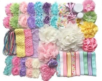 "Baby Shower Headband Kit ""Springtime Pastels"", Baby Shower Headband Station, DIY Headband kit, Baby Girl Headbands, Baby Headband Kit"