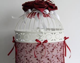 Wedding urn large birdhouse with Burgundy flower lace satin