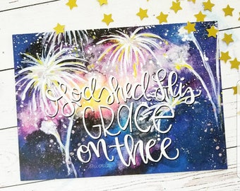 America The Beautiful 5x7 Print Fine Art USA 4th of July fireworks Painting God Shed His Grace Patriotic Hymn Hand Lettering War Room