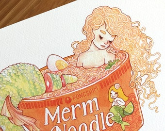 Mermaid Ramen Art Print