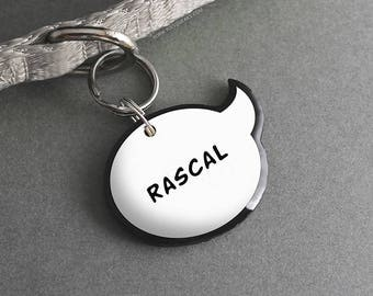 Speech Bubble Pet ID Tag - Comic Book Lovers, Nerdy Geeky Gifts, Cute Pet Accessories - Pixsqueaks