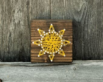 String art etsy mini sun string art sun sun sign bright happy sign wood prinsesfo Images