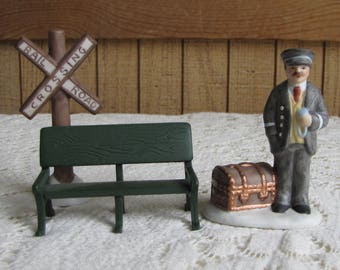 Lefton Station Master and Railroad Sign and Bench Three (3) Piece Set Christmas Colonial Village Holiday Décor 1988 Railroad Figurines