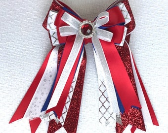 Horse Show Hair Bows/Red White Blue/Sparkle gem/Beautiful Gift