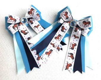 Pony hair bows for Horse Shows/beautiful blue sparkle gem