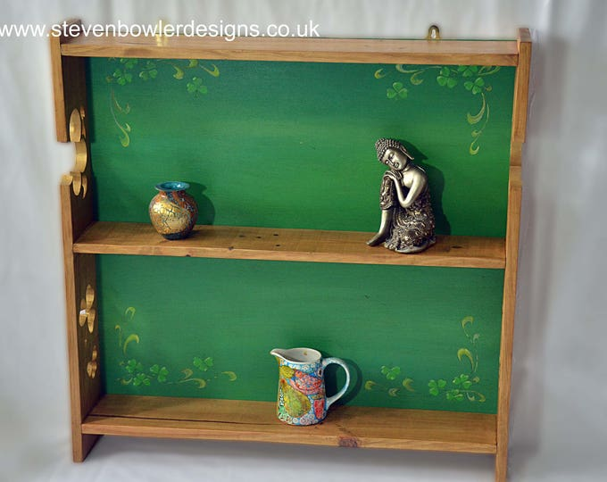 FREE UK SHIPPING Bespoke Wall Mounted Rustic Reclaimed Wood Country Cottage Shelving Unit with Green Shamrock Leaf Pattern Fixings Supplied