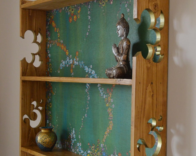 Country Cottage Wall Mounted Shelving Unit carved OM Sign in side panels Hand Painted Flowers & Gold Highlights Handcrafted to Order