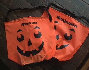 Personalized Lightweight Pumpkin Halloween Trick-or-Treat Candy Bags! Buy more, save more!