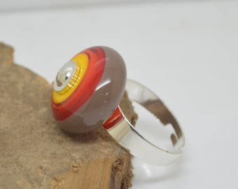Glass brown red orange yellow Lampwork support adjustable silver ring