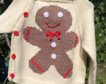 snowman kids sweater from wool and cashmere gingerbread