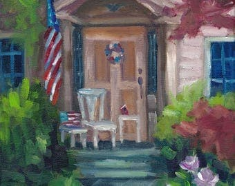 Patriotic Front, painting,landscape, country art, ready to hang, americana
