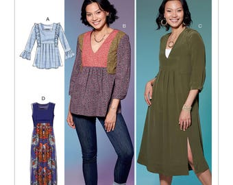 McCall's Sewing Pattern M7650 Misses' V-Neck or Square-Neck Top, Tunic, and Dresses