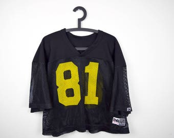 90s Mesh Football Jersey by Don Alleson Athletic / #81 / Black and Yellow / Size XL / Extra Large (46-48) / Football Practice Jersey