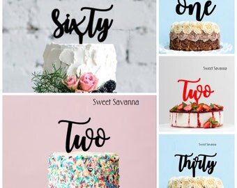 Number Cake Topper  - One cake topper, Two Cake topper, First Birthday Cake Topper