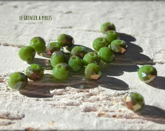 Beads 4 mm Olivine Abacus iridescent X 25
