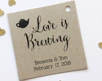 Love Is Brewing Kraft Favor Tags, Tea or Coffee Pot Wedding Favor Tags, Wedding Hang Tags  (SQ-096-KR)
