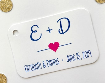 Initial Tags, Initial Favor Tags, Wedding Favor Tags, Small Wedding Favor Tags (RR-154-H)