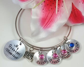 Grandma Gift Mom Gift Grandmother Gift Bracelet Mother Gift Personalized Gift Custom Hand Stamped Mothers Day My Greatest Blessings
