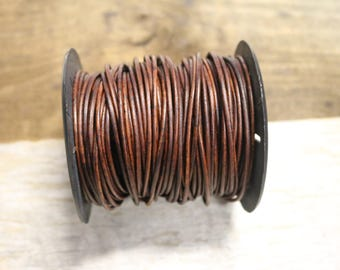 2mm Natural Red/Brown Leather Cord