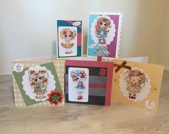 Set of 5 luxury, bespoke handmade cards, cute birthday, greetings cards