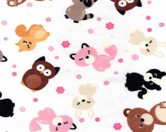 Cute Woodland Friends Flannel Fabric by the yard