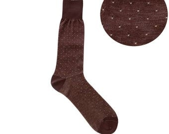 Summer Weight Pin Dots Brown White Mid Calf Dress Socks