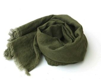 khaki linen scarf for men and women