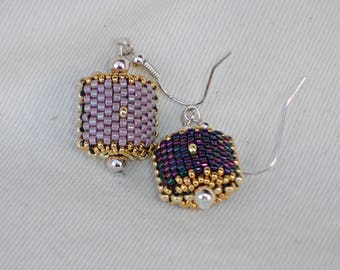 Lilac and plum earrings reversible