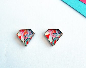 geometric studs, diamond studs, floral earrings, flower earrings, flower jewellery, floral jewellery, patterned earrings, colourful studs