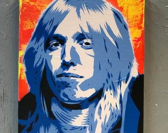 Tom Petty Painting on Stretched Canvas - pre made and ready to ship - pictures show actual item you are purchasing.