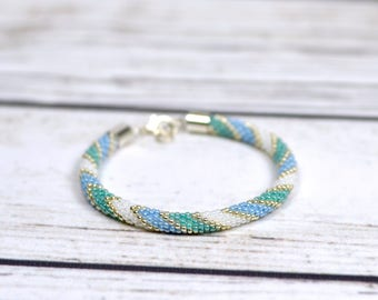 aquamarine bracelet nautical bracelet daughter gift summer outdoors birthday gift for women summer jewelry boho jewelry womens gift for mom