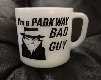 Parkway bad guy milk glass coffee cup anchor hocking advertising