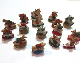 Miniature Christmas Collection Assorted Vintage Embellishments Charms Set of 16 Carousel Horse Rocking Horse - 694 G
