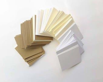 "50 Pieces 2.5"" x 3"" Assorted card stocks rectangles / Paper Scrap Pack/  Card Stocks Destash/ Mixed Media Supplies/ Paper Rectangles"