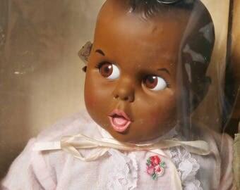 "Vtg 1979 Gerber Baby African American Black Doll Rolling Eyes Soft & Cuddly 16"""