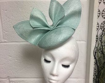 SAMPLE Mint green straw bow hat