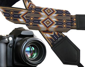 Orange / brown Native American Inspired camera strap with pocket. Brown camera strap for DSLR and SLR cameras. Modest gift!