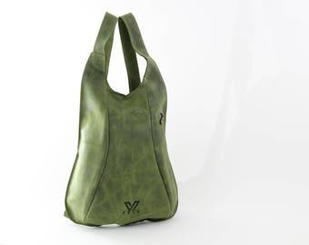 Green Leather Backpack, Travel Backpack, School Bag, Turtle Backpacks, Backpack for Women,  Handmade Backpack, Italian Leather