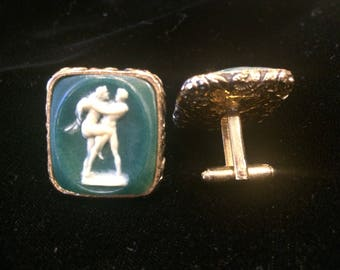 Museum Masterpiece BY DANTÉ Large Vintage 70s Erotic Dante Cufflinks Green & White Faux Cameo Incolay Etched Brass with Decorated Edge RARE