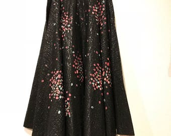 Cosmic Hand Painted Circle Skirt 1950's Cadillac Original Vintage 50s Circle Skirt Handprinted & sequins on Unique black on black pattern!