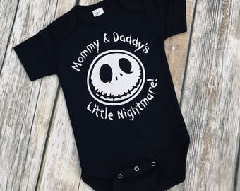 Mommy & Daddys Little  Nightmare!  The Nightmare Before Christmas Jack Skellington inspired onepiece bodysuit!!