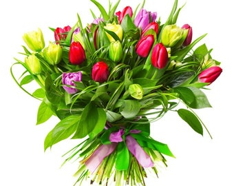 Laminated placemat bouquet of tulips